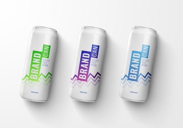 Maqueta de latas largas y delgadas representación 3d realista