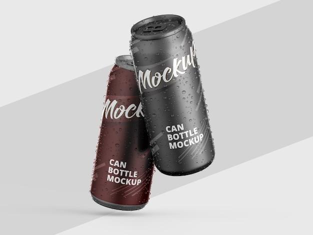 Maqueta de latas metálicas brillantes