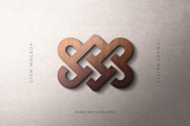Maqueta de letrero de logotipo de madera