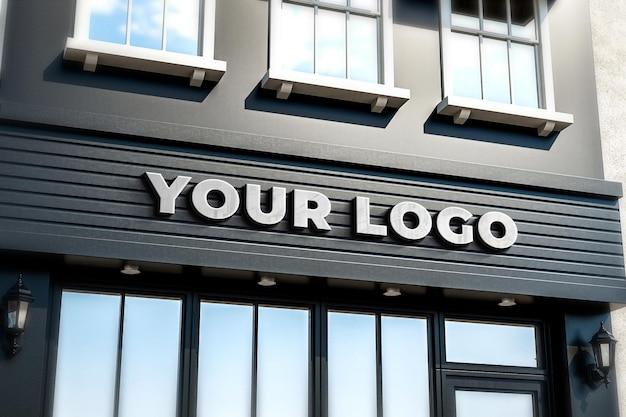 Maqueta de letrero de tienda de logotipo tienda negra realista 3d