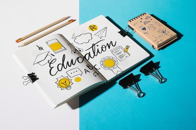 Maqueta de libreta para concepto de educación