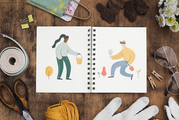 Maqueta de libreta con concepto de jardinería