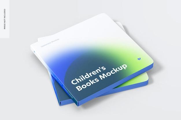 Maqueta de libro cuadrado, conjunto apilado