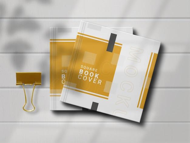 Maqueta de libro cuadrado con elegante sombra