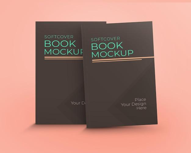 Maqueta libro tapa blanda con dos libros pie vista frontal aislado