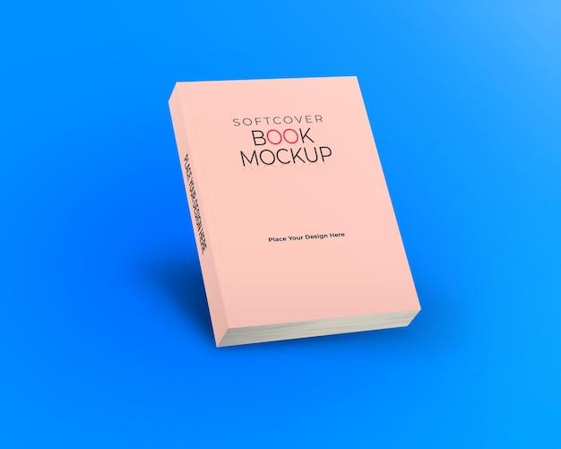 Maqueta de libro de tapa blanda vista oblicua frontal aislada sobre fondo azul