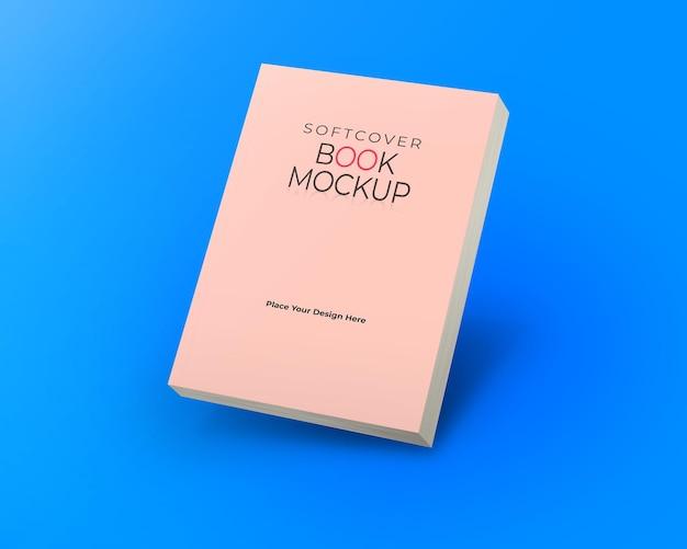 Maqueta de libro de tapa blanda vista oblicua superior aislada sobre fondo azul