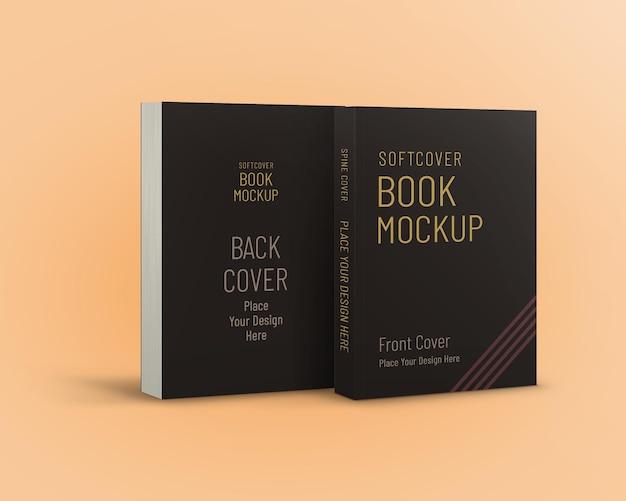 Maqueta de libro de tapa blanda vista de portada delantera y trasera aislada