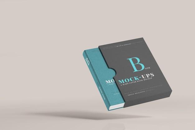 Maqueta de libro de tapa dura con funda de libro