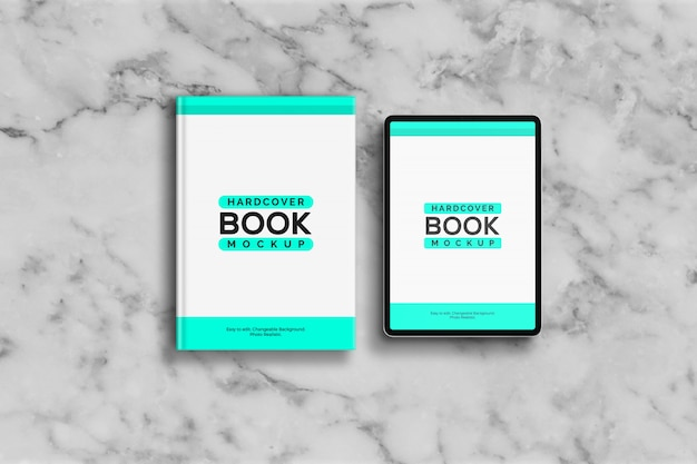 Maqueta de libro de tapa dura y tableta