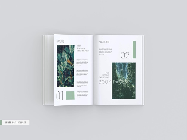 Maqueta de libro de vista abierta dentro de las páginas