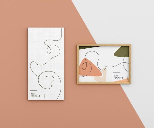 Maqueta de lienzo con formas orgánicas y marco.