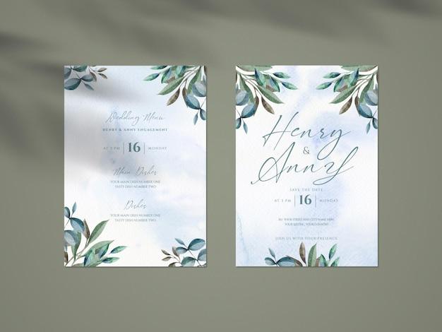 Maqueta limpia con plantilla de tarjeta de invitación de boda botánica y superposición de sombras