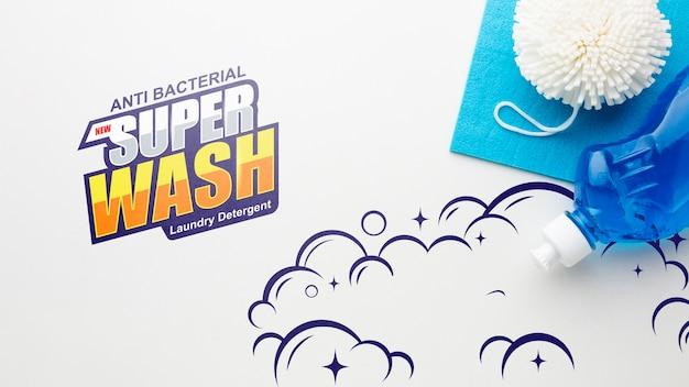Maqueta de limpieza con detergente líquido