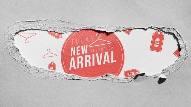 Maqueta de llegada de la tienda de ropa en papel