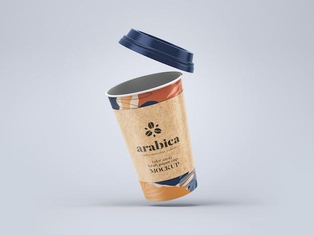 Maqueta para llevar una taza de café de papel