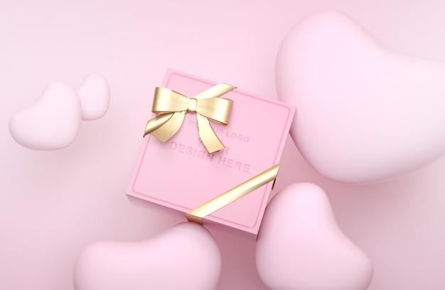 Maqueta de logo 3d de caja de regalo