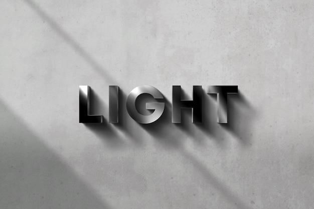 Maqueta con logo 3d con efecto cromado