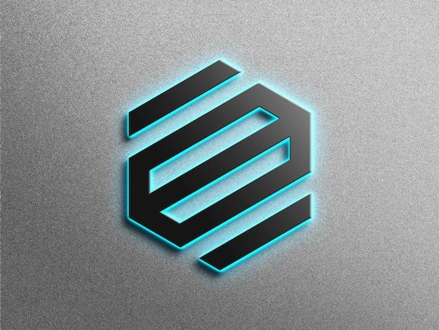 Maqueta de logo 3d con efecto neón