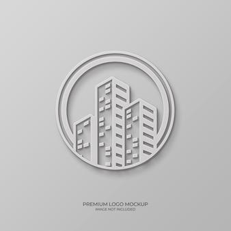 Maqueta de logo 3d en la pared