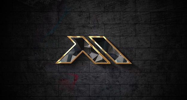 Maqueta de logo 3d realista en la pared