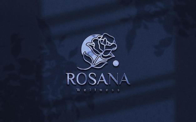 Maqueta de logo azul plateado en relieve