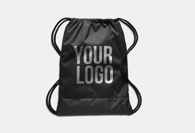 Maqueta del logo de bolsa negra de bolsa de gimnasia aislada