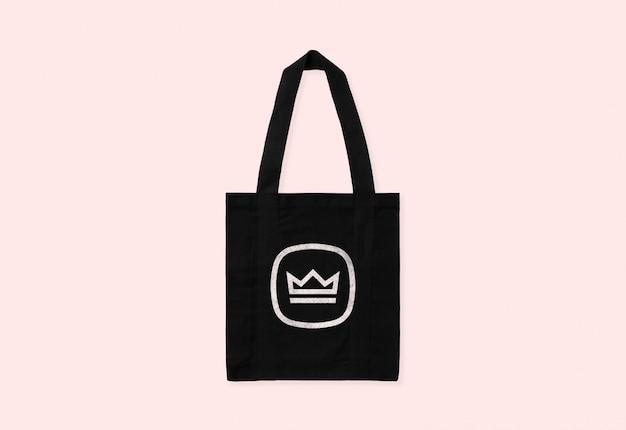 Maqueta de logo de bolso tote negro