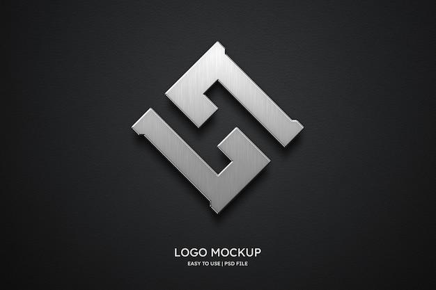 Maqueta de logo en cuero negro