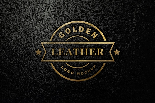 Maqueta de logo dorado estampado en polipiel negra