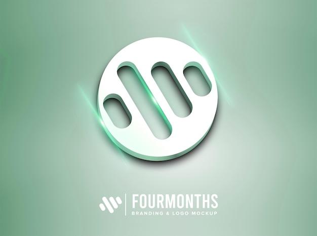 Maqueta de logo con efecto verde brillante