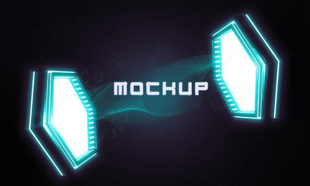 Maqueta de logo futurista con luces brillantes