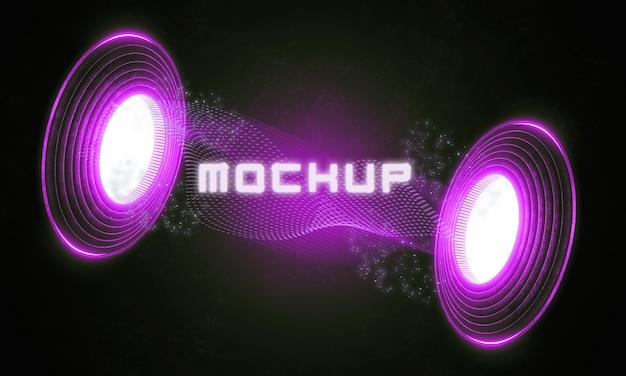 Maqueta de logo futurista en luces de neón.