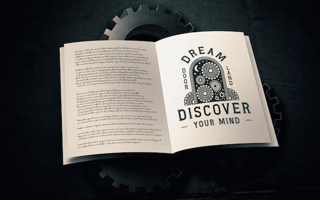 Maqueta de logo de libro de texto antiguo
