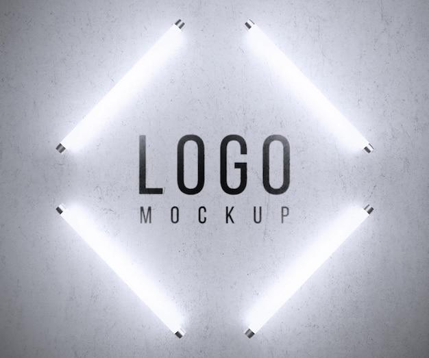 Maqueta de logo con luces