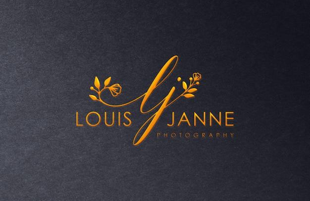 Maqueta de logo de lujo dorado