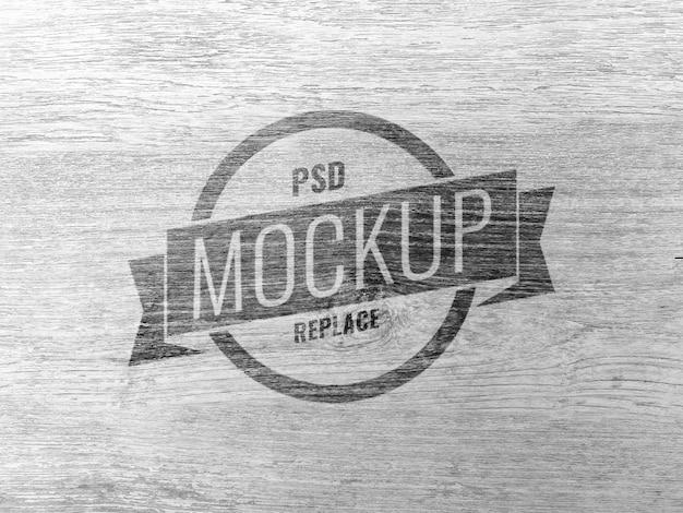 Maqueta con logo de madera minimal