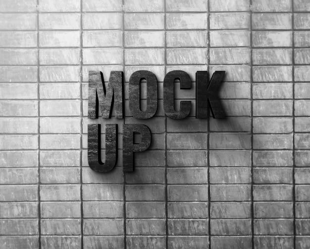 Maqueta de logo en pared de ladrillo de cemento blanco
