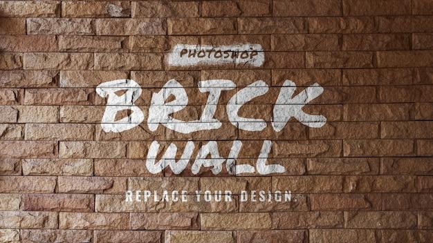 Maqueta de logo de pared de ladrillo