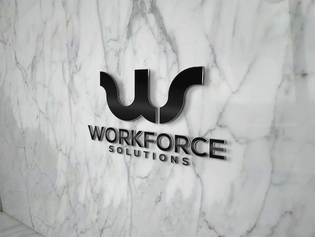 Maqueta de logo en pared de mármol