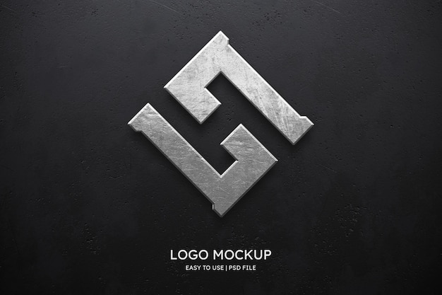Maqueta de logo en pared negra