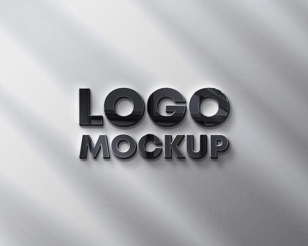 Maqueta de logo de pared con sombra