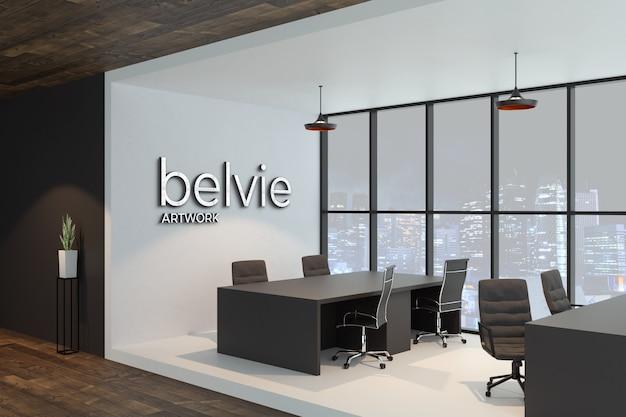 Maqueta de logo plateado 3d en la pared en blanco