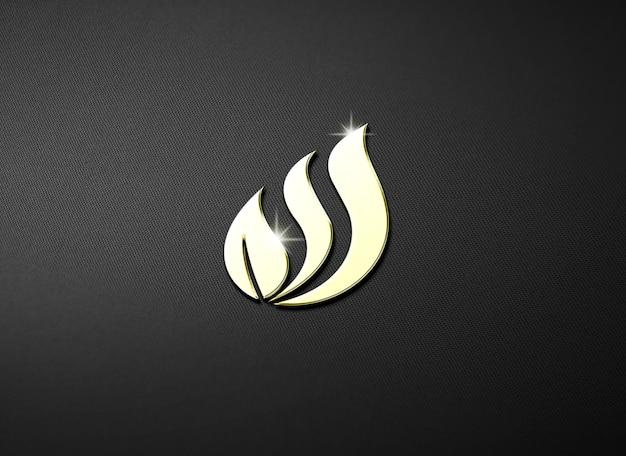 Maqueta de logo en relieve con efecto dorado brillante