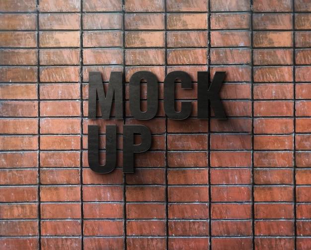 Maqueta de logo de signo en pared de ladrillo