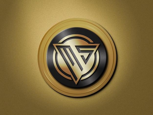 Maqueta de logotipo 3d en color dorado