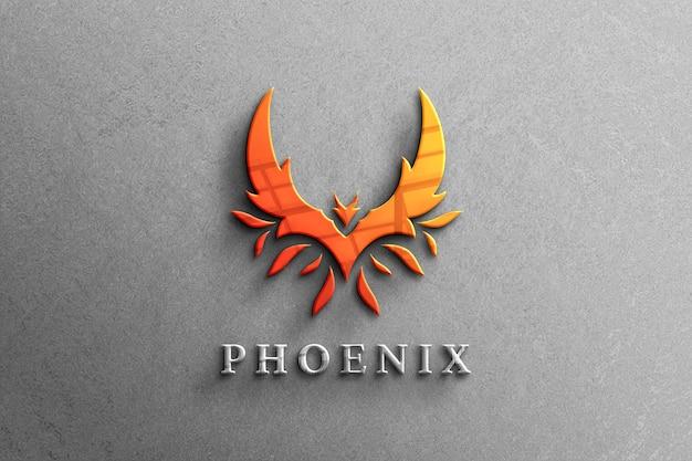 Maqueta de logotipo 3d company clean color con reflejo