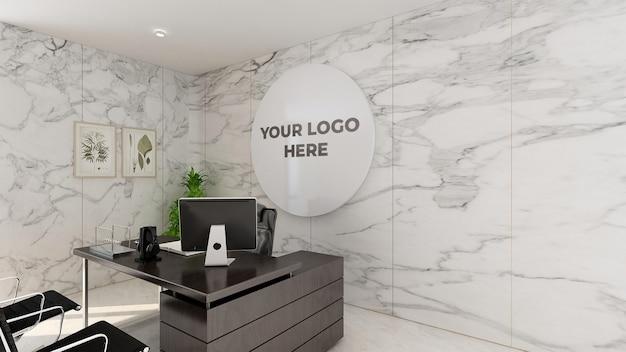 Maqueta de logotipo 3d letrero realista oficina pared blanca