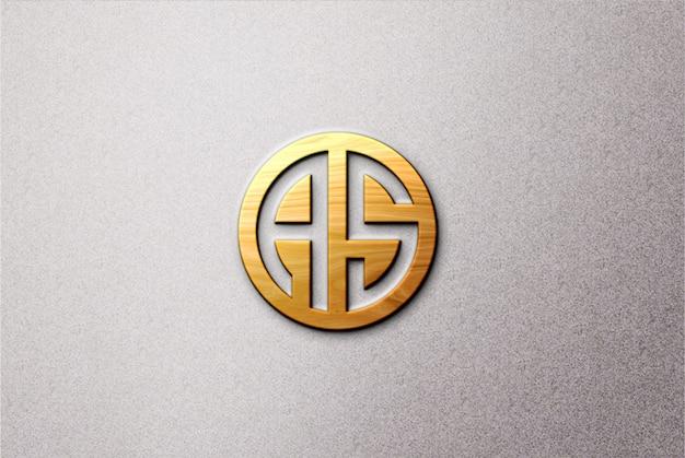 Maqueta de logotipo 3d de madera sobre hormigón