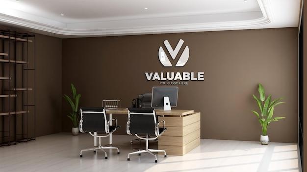 Maqueta de logotipo 3d en la moderna sala del administrador de la oficina